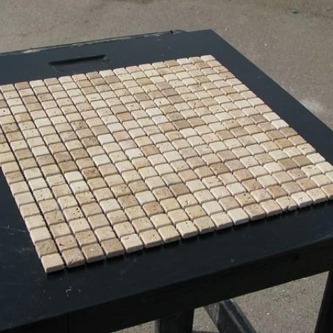 Мозаика Травертин Classic 15x15x6 мм Полированная