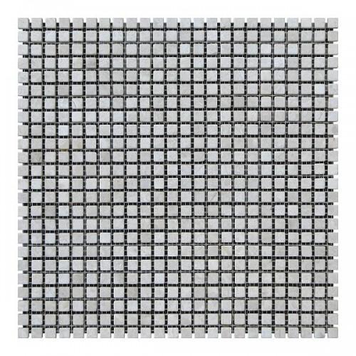Мраморная мозаика Victoria Beige 10х10x6 мм Стареная | Валтованная