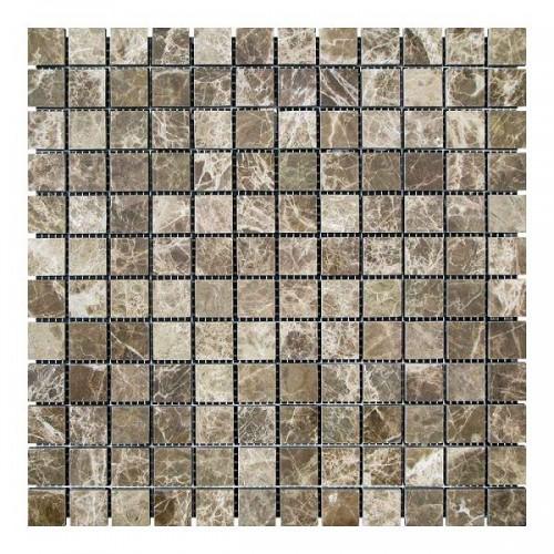 Мраморная мозаика Emperador Dark TR 23х23x6 мм Полированная