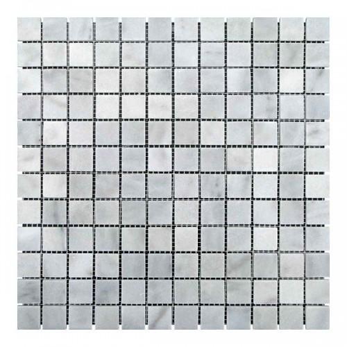 Мраморная мозаика White Mix BI 23х23x6 мм Полированная