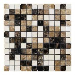 Мраморная мозаика Emperador Dark - Emperador Light - Crema Marfil 23x23x6 мм Полированная