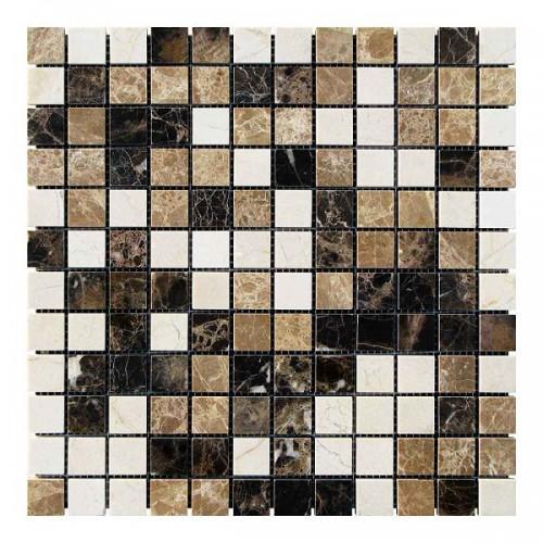 Мраморная мозаика Emperador Dark - Emperador Light - Crema Marfil 23х23x6 мм Полированная