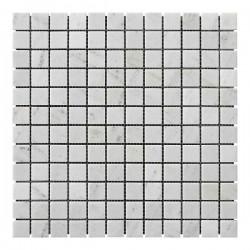 Мраморная мозаика White BI 23x23x6 мм Полированная
