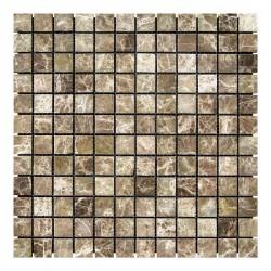 Мраморная мозаика Emperador Dark TR 23x23x6 мм Стареная | Невалтованная
