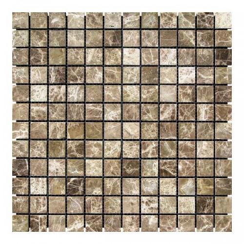 Мраморная мозаика Emperador Dark TR 23х23x6 мм Стареная | Невалтованная