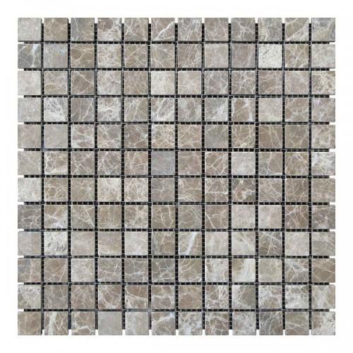 Мраморная мозаика Emperador Light 23х23x6 мм Стареная | Валтованная