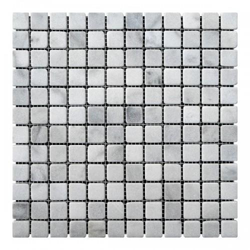 Мраморная мозаика White BI 23х23x6 мм Стареная | Валтованная