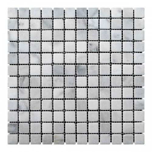 Мраморная мозаика White Mix 23х23x6 мм Стареная | Валтованная