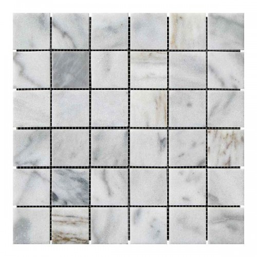 Мраморная мозаика White Mix 47х47x6 мм Полированная