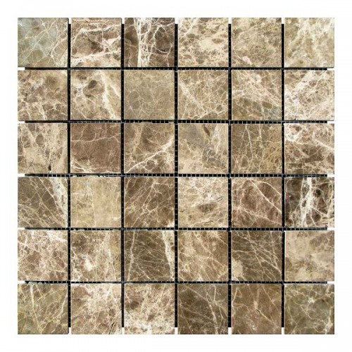 Мраморная мозаика Emperador Dark TR 47х47x6 мм Стареная | Невалтованная