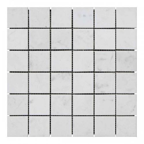 Мраморная мозаика White Mix 47х47x6 мм Стареная | Невалтованная