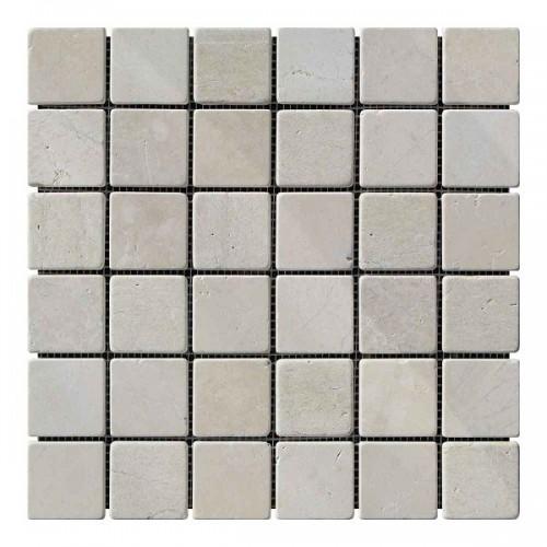 Мраморная мозаика Beige Mix 47х47x6 мм Стареная | Валтованная