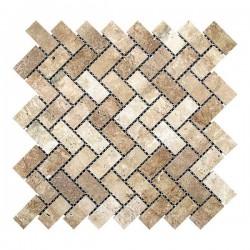 Мозаика Травертин Classic 47x23x6 мм Полированная | Прямоугольная