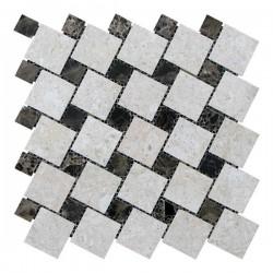 Мраморная мозаика Victoria Beige | Emperador Dark 47x47 мм|23x23x6 мм Полированная