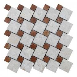 Мраморная мозаика Victoria Beige | Rojo Alicante 47x47 мм|23x23x6 мм Полированная