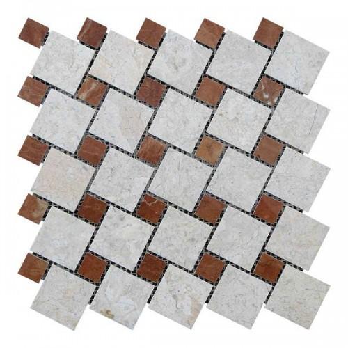 Мраморная мозаика Victoria Beige | Rojo Alicante 47х47 мм|23х23x6 мм Полированная