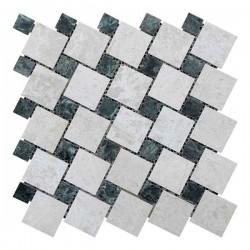 Мраморная мозаика Victoria Beige | Verde Guatemala 47x47 мм|23x23x6 мм Полированная