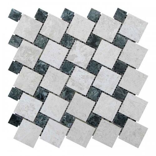 Мраморная мозаика Victoria Beige | Verde Guatemala 47х47 мм|23х23x6 мм Полированная