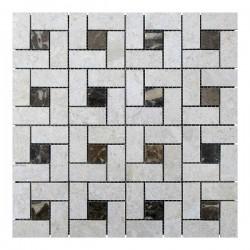 Мраморная мозаика Victoria Beige | Emperador Dark 23x23 мм|47x23x6 мм Полированная
