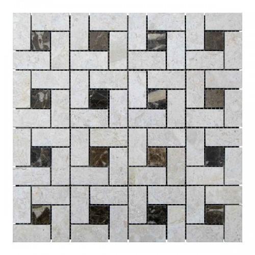 Мраморная мозаика Victoria Beige | Emperador Dark 23х23 мм|47х23x6 мм Полированная
