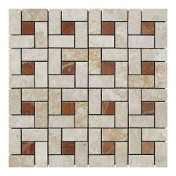Мраморная мозаика Victoria Beige | Rojo Alicante 23x23 мм|47x23x6 мм Полированная