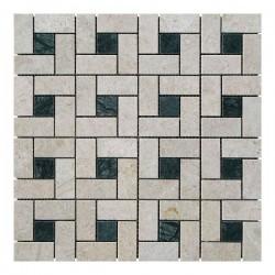 Мраморная мозаика Victoria Beige | Verde Guatemala 23x23 мм|47x23x6 мм Полированная