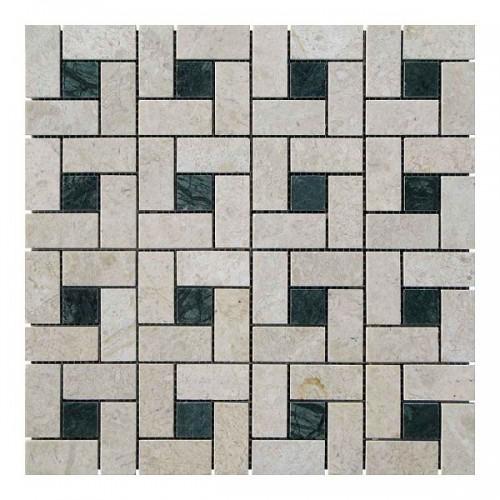 Мраморная мозаика Victoria Beige | Verde Guatemala 23х23 мм|47х23x6 мм Полированная
