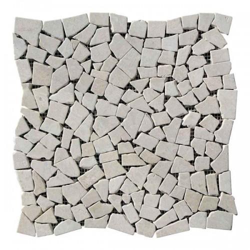Хаотичная мраморная мозаика Victoria Beige 6 мм Стареная | Валтованная