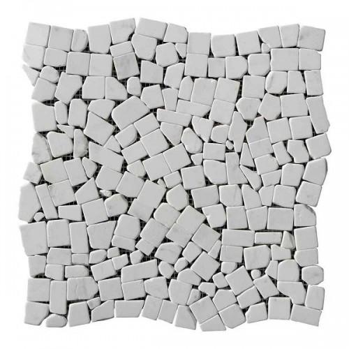 Хаотичная мраморная мозаика White Mix 6 мм Стареная | Валтованная